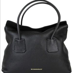 Burberry London Grainy Black Leather Tote